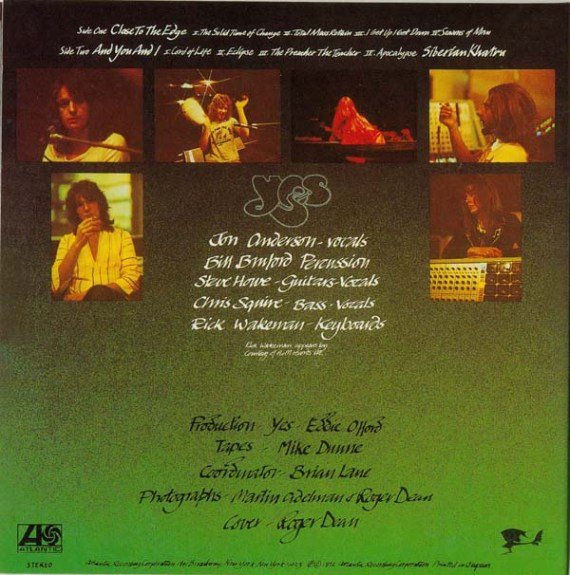 Close to the Edge - Yes (back cover)